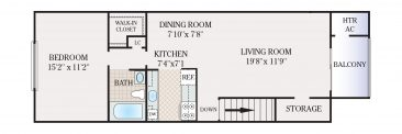 1 Bedroom 1 Bath. 650 sq. ft.