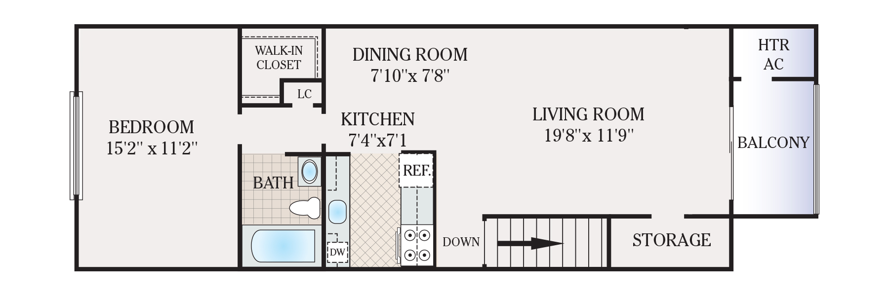 650 Square Feet Apartment Floor Plan