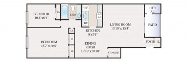 2 Bedroom 1 Bath. 950 sq. ft.