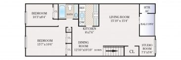 2 Bedroom with Studio 1 Bath. 960 sq. ft.