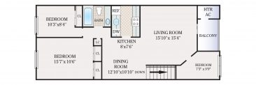 3 Bedroom 1 Bath. 900 sq. ft.