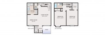 2 Bedroom Townhouse 1.5 Bath. 1000 sq. ft.